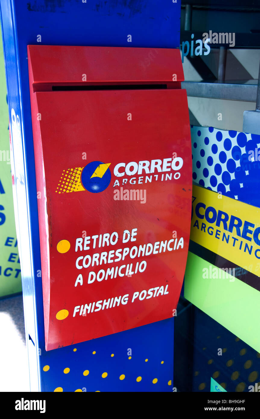 Correo Buenos Aires Argentina Town City post office mail box red letters - Stock Image