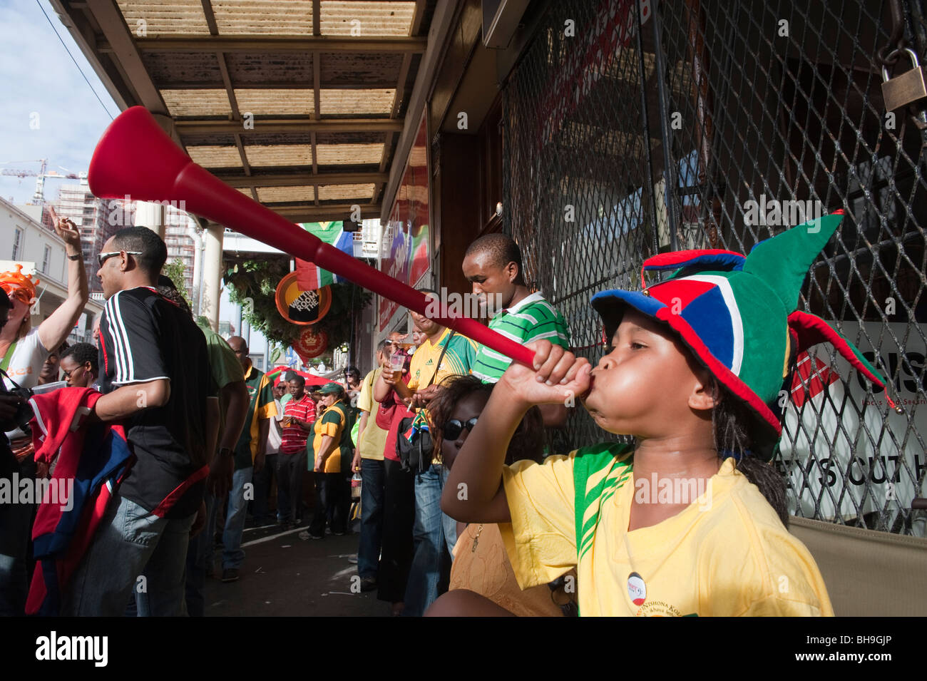Girl with a Vuvuzela FIFA World Cup 2010 Cape Town South Africa - Stock Image