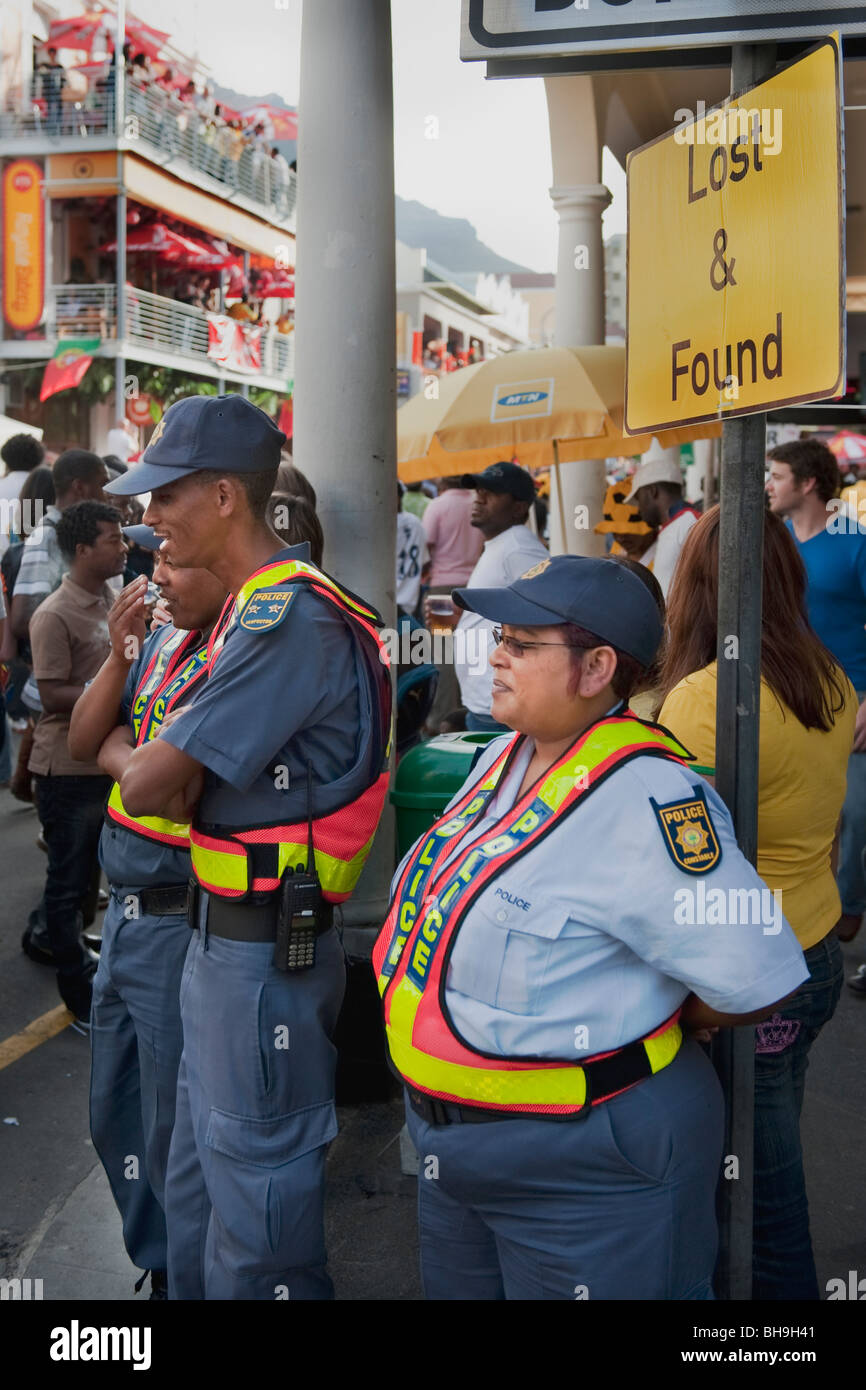 Police officers guarding the FIFA Fan Mile Cape Town South Africa - Stock Image