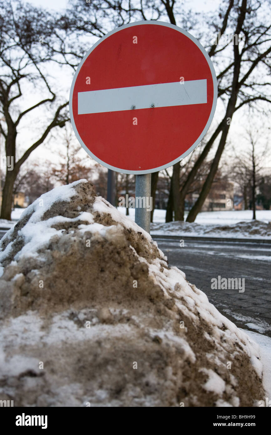 No Entrance Sign in a snow hill in Hannover, Germany - Stock Image