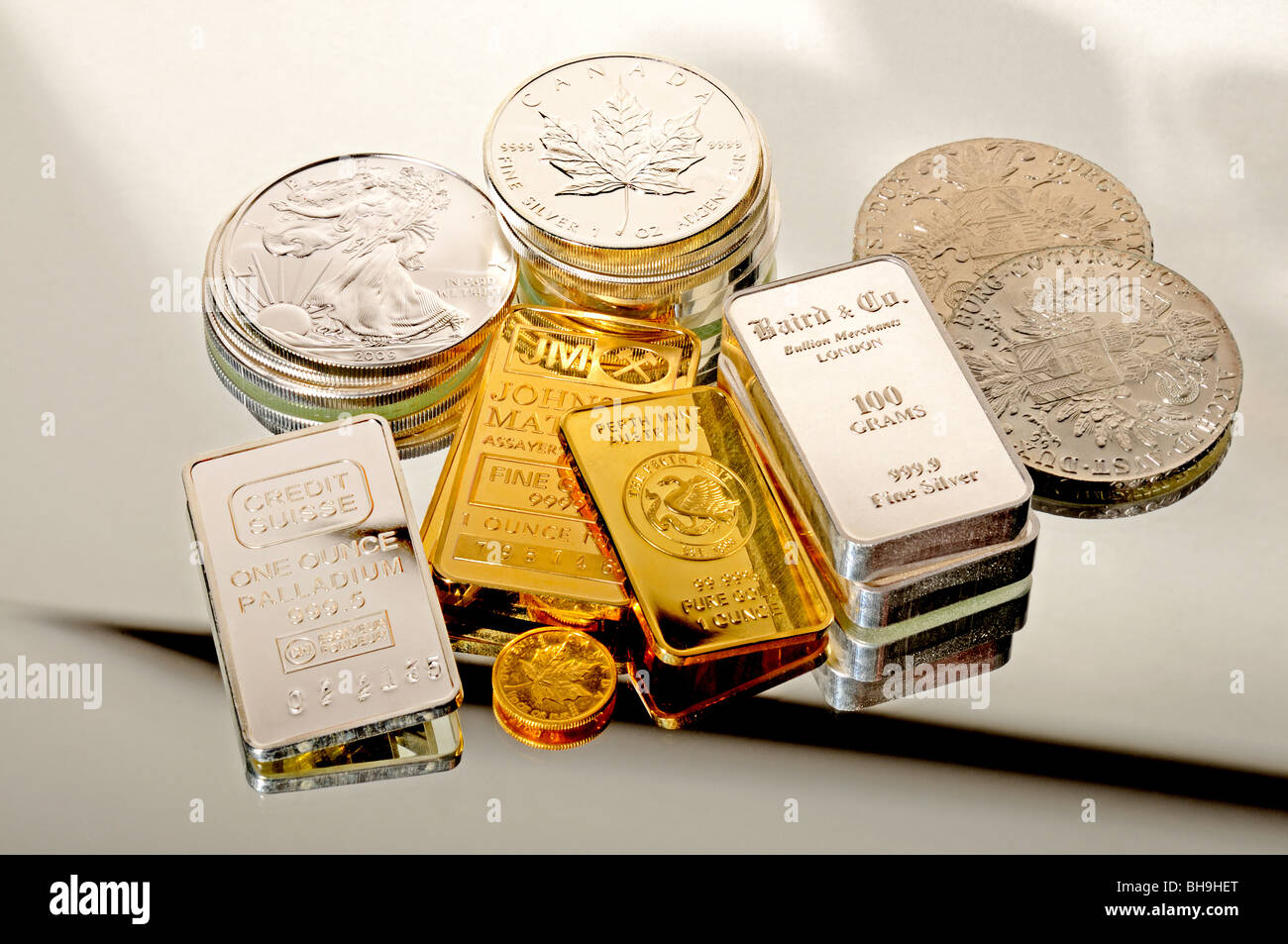 Gold, Silver and Palladium bullion in coins and bars - Stock Image