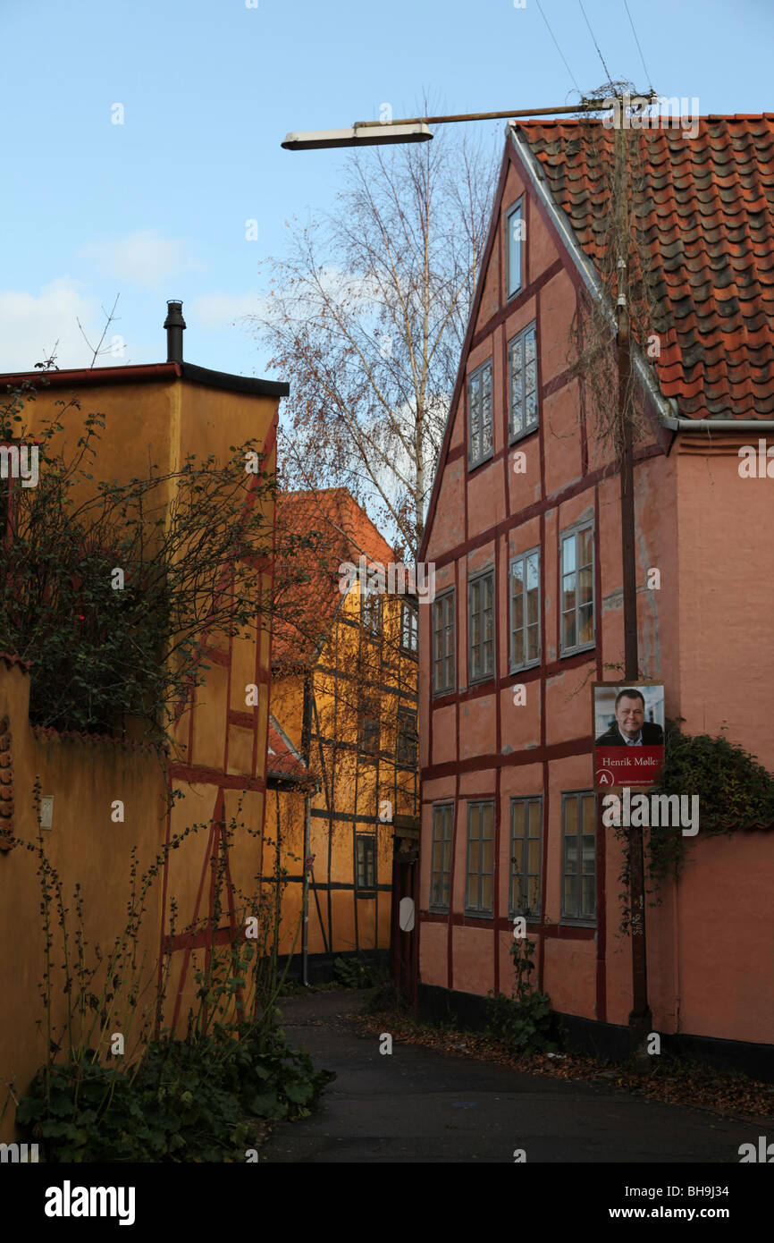 alleyway with traditional houses in Elsinore/Helsinger - Stock Image