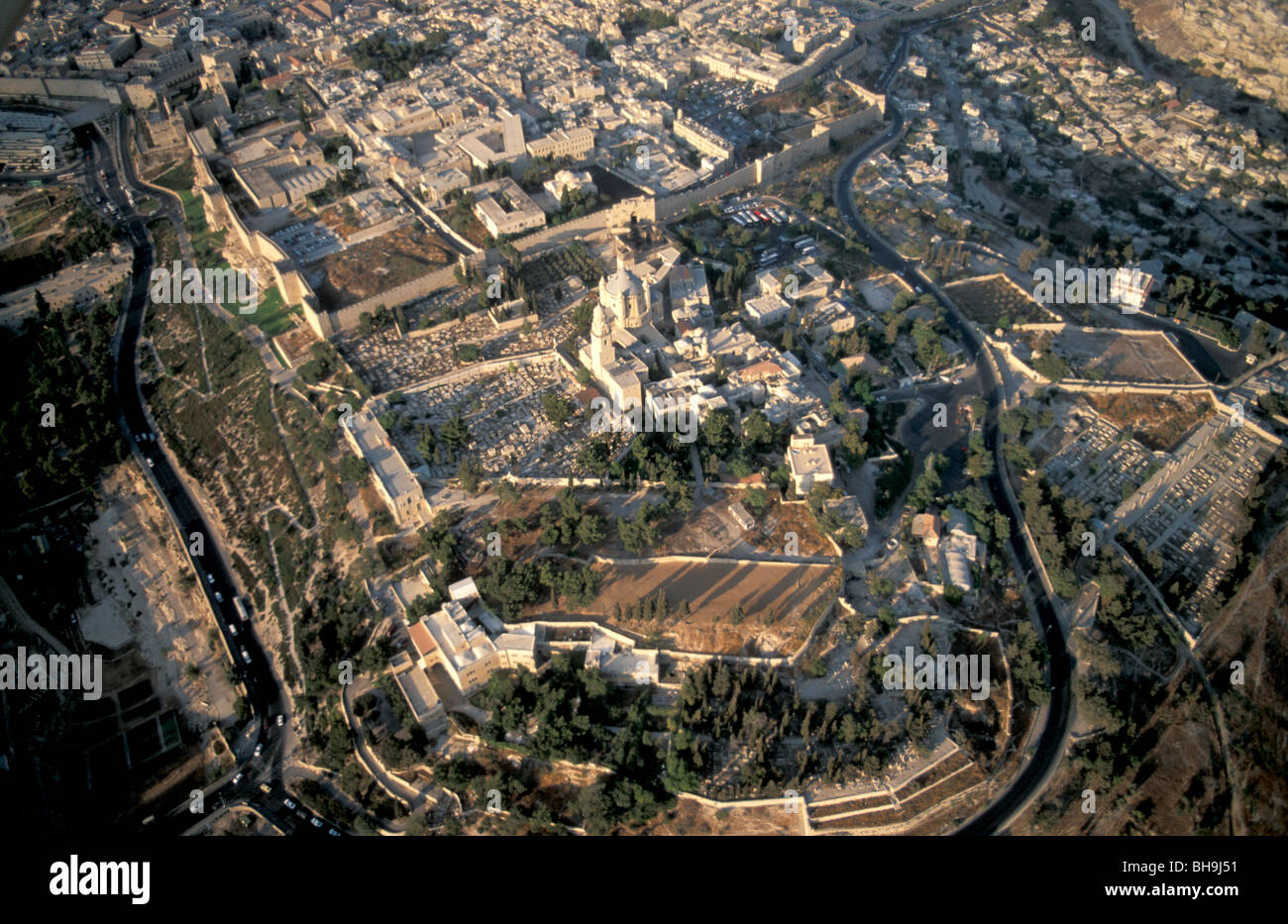 Israel, Jerusalem, an aerial view of Mount Zion - Stock Image