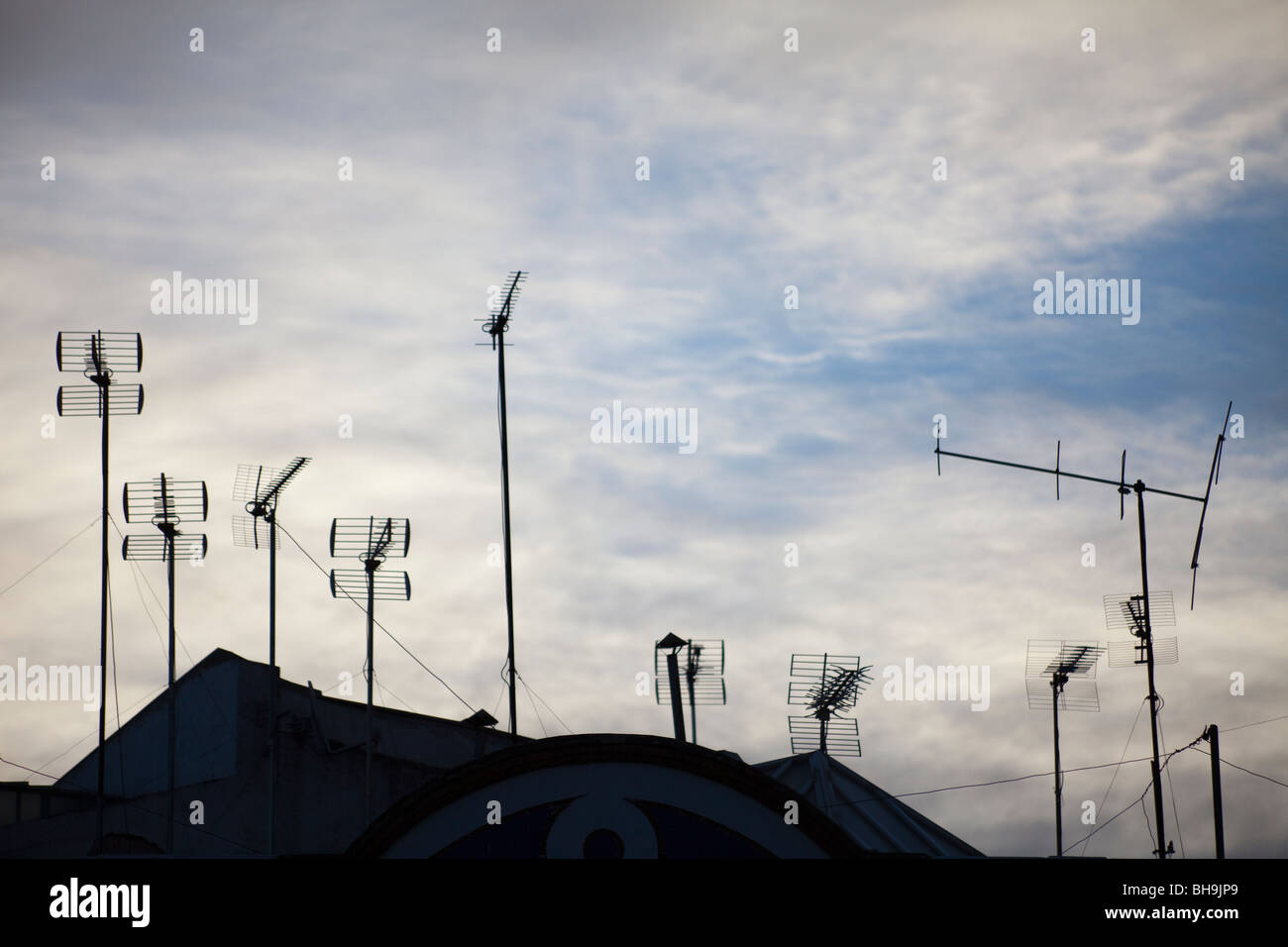 television aerials, central Seville, Andalusia, Spain - Stock Image