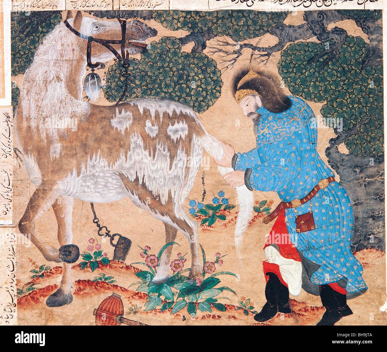 Miniature depicting, nomadic Oguz people of Siberian steppes and horse, Fatih Album, Topkapi Palace Museum - Stock Image