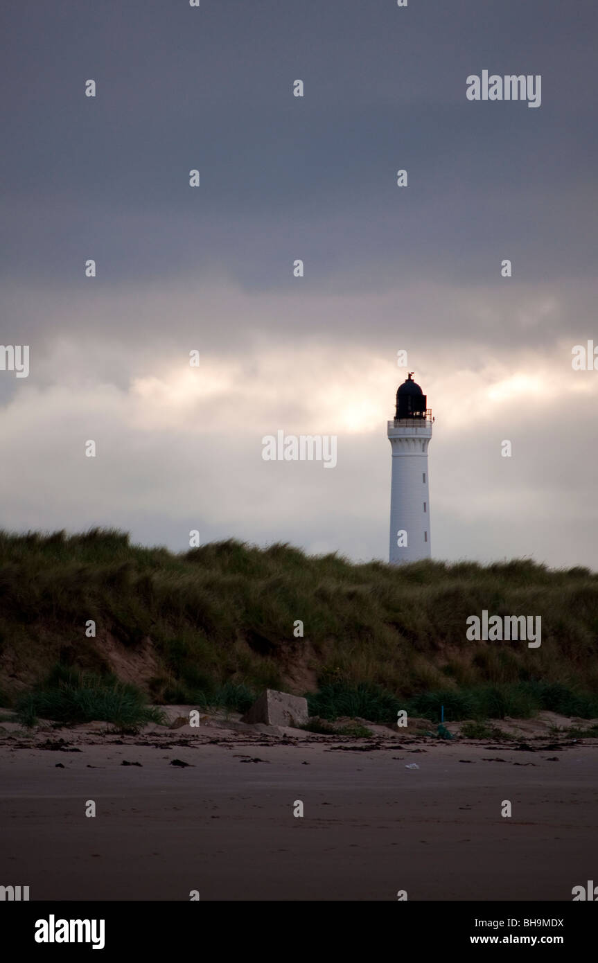 Covesea Lighthouse in Lossiemouth - Stock Image