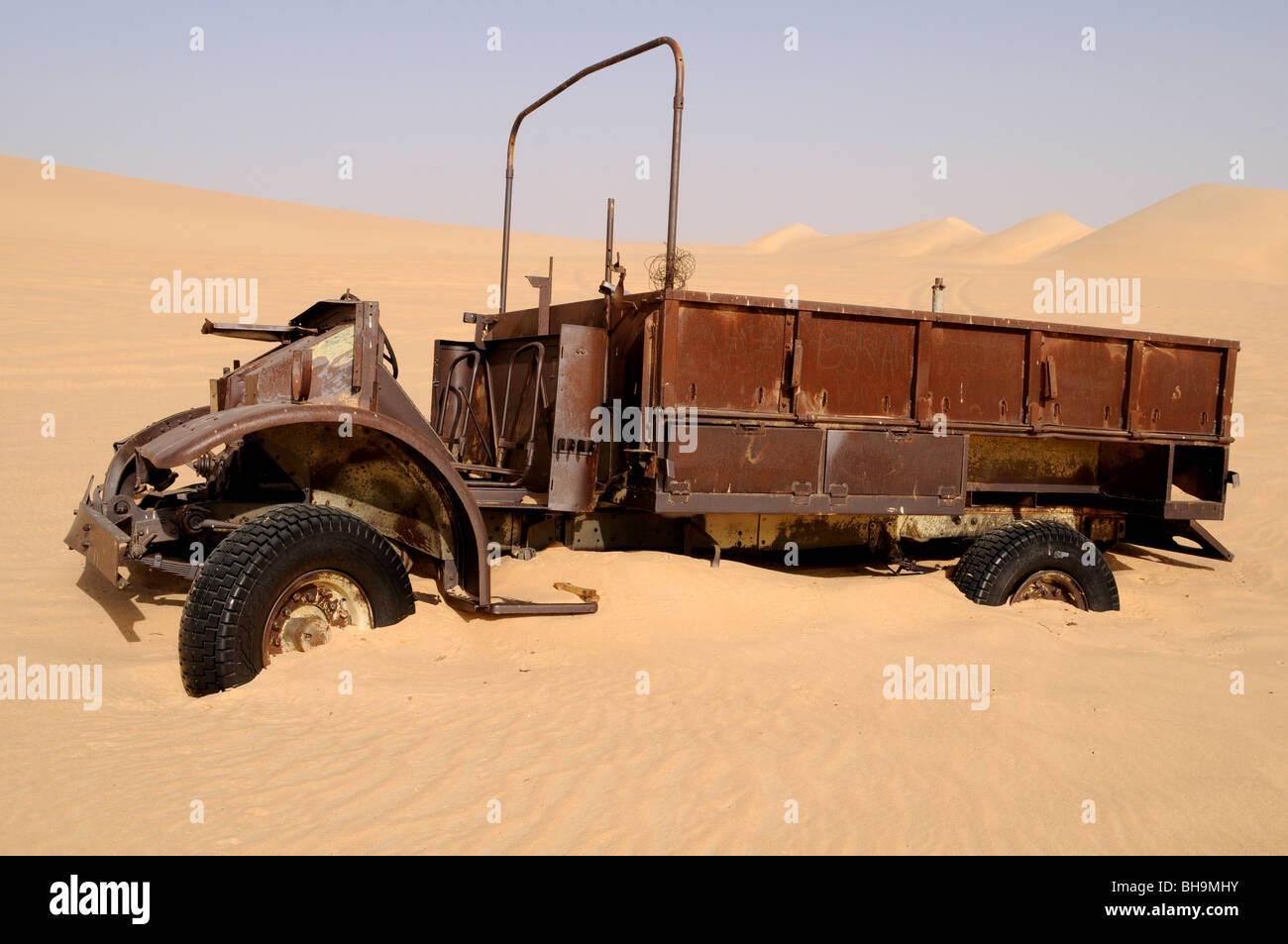 An old military vehicle of the Long Range Desert Group, an elite World War Two British army unit, in the Western - Stock Image