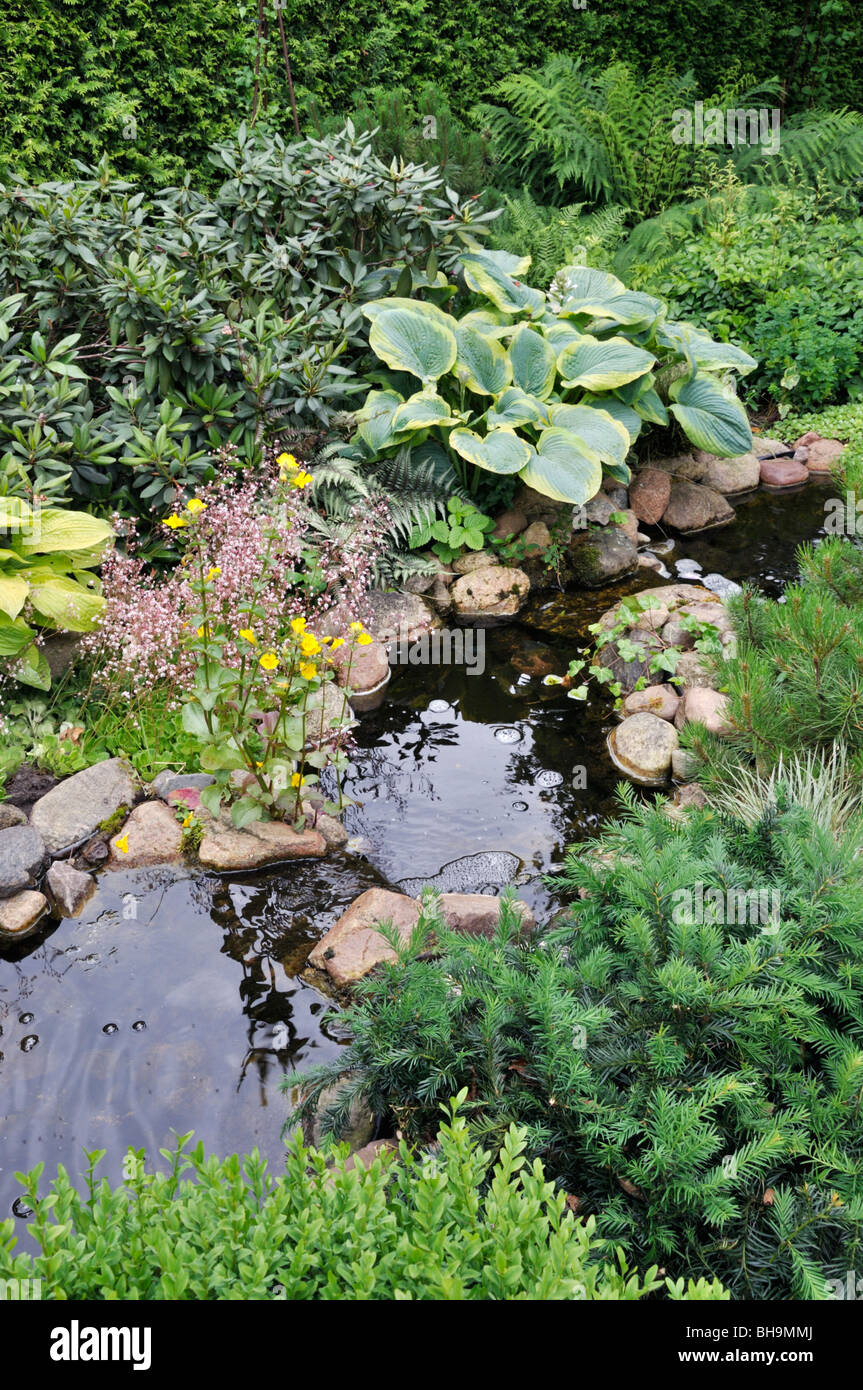 Perennial garden with brook. Design: Marianne and Detlef Lüdke - Stock Image