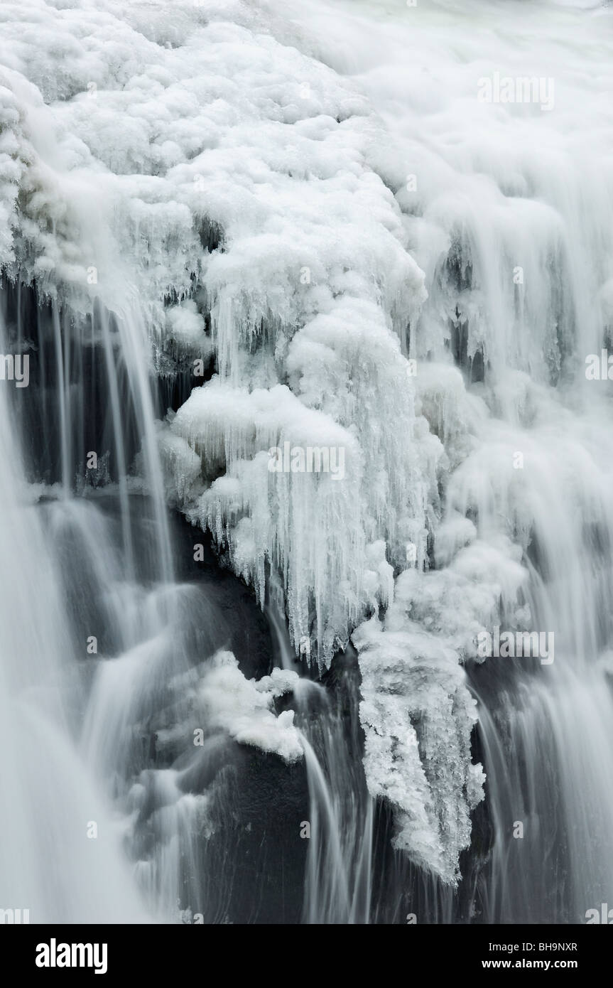 Detail of Ice on Bald River Falls in Bald River Gorge Wilderness in Cherokee National Forest, Tennessee - Stock Image