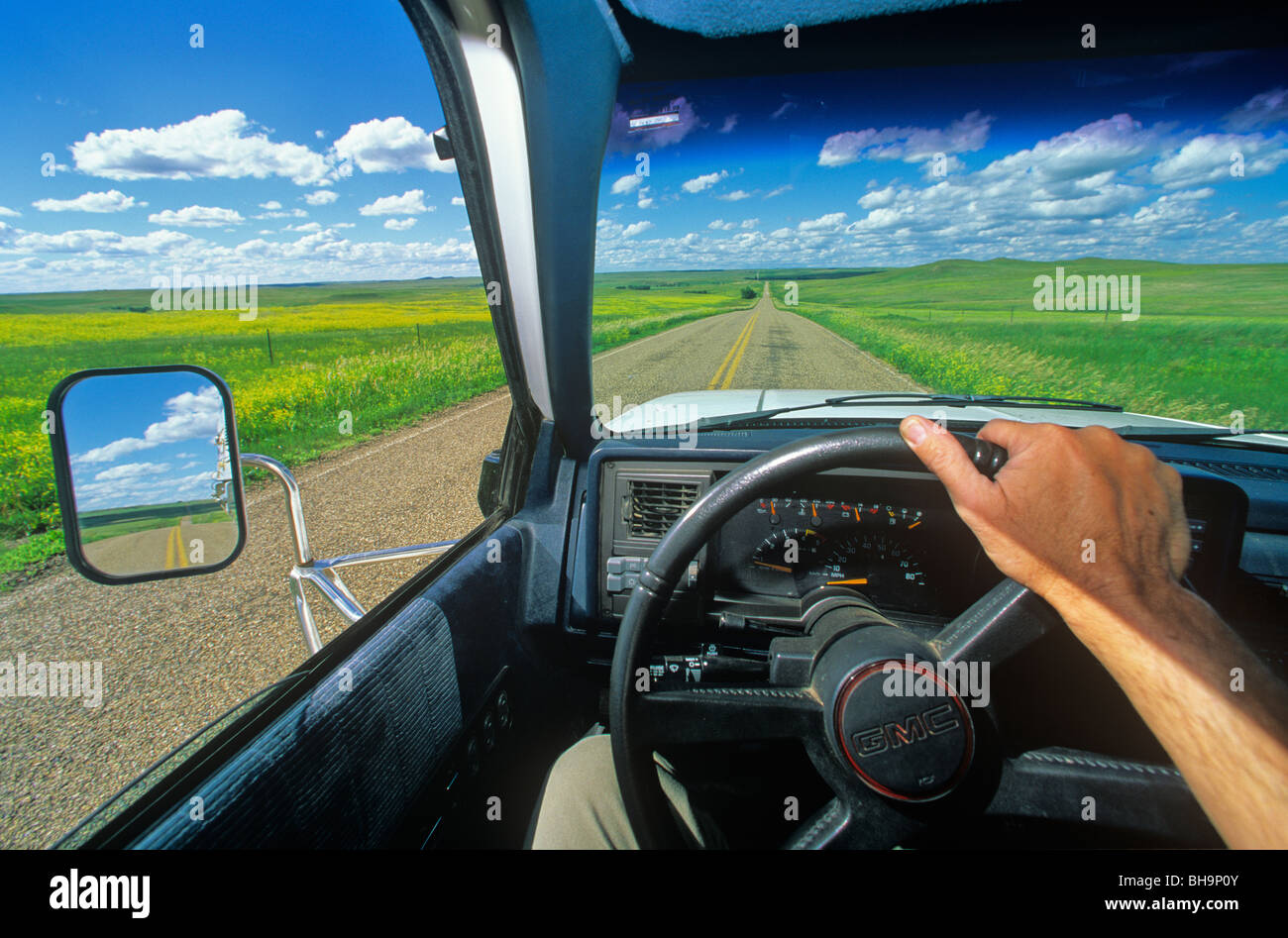 Driving across the Great Plains at Grand River National Grassland near Bison, South Dakota, USA - Stock Image