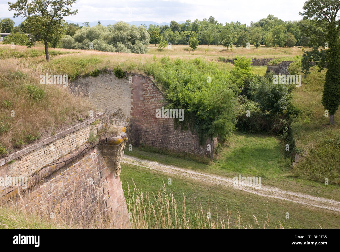 Fortifications at Neuf-Brisach, Haut-Rhin Alsace, France, a military border town built by Vauban In the Rhine Valley - Stock Image