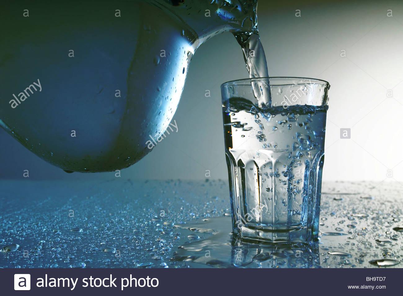 sauberes Wasser im Glas - Glass of clean Water Stock Photo