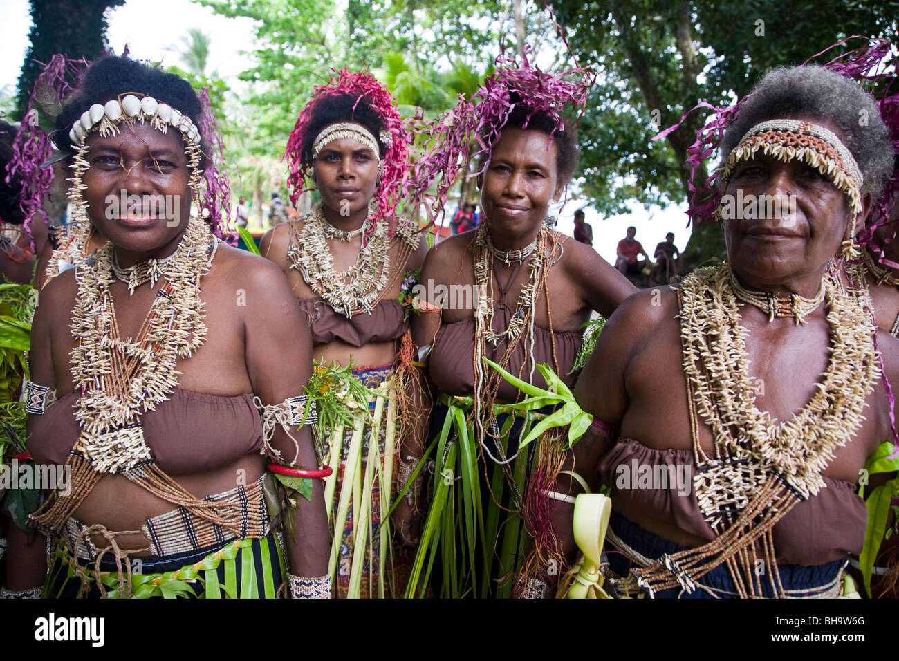 Traditionally costumed dancers Santa Ana Island Solomon Islands - Stock Image