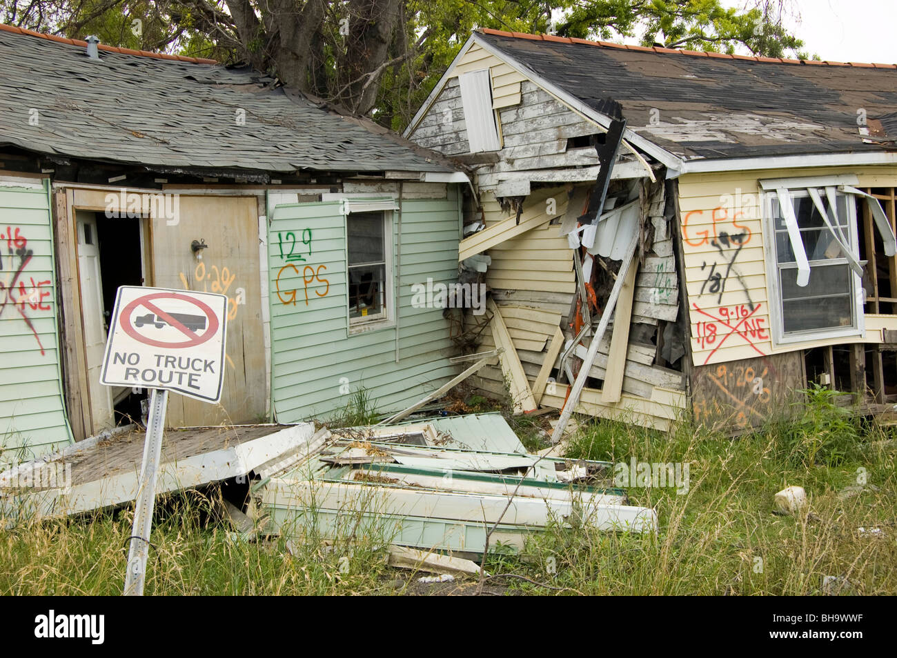 Homes which floated off their foundations in the flooding for Katrina homes