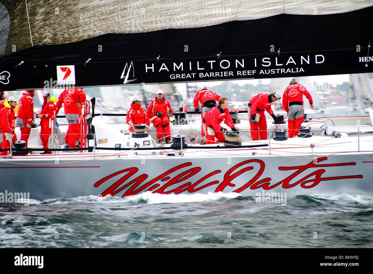 SYDNEY, Australia - SYDNEY, Australia - Super maxi yacht Wild Oats XI at the start of the 2009 Rolex Sydney to Harbour - Stock Image