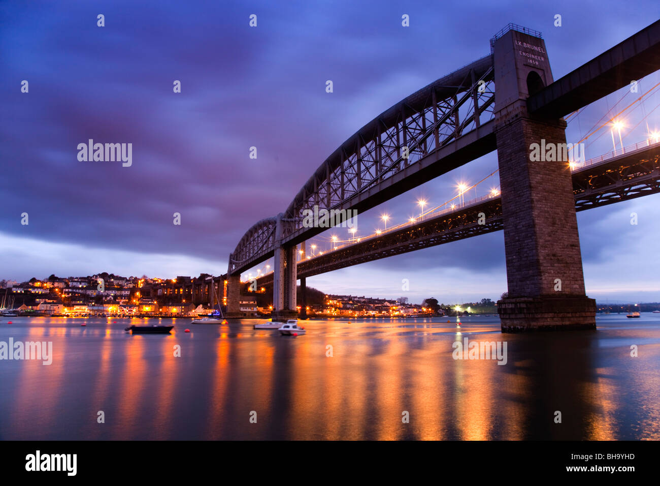 Tamar bridges; from Plymouth looking across to Saltash; rail to the left road to right - Stock Image