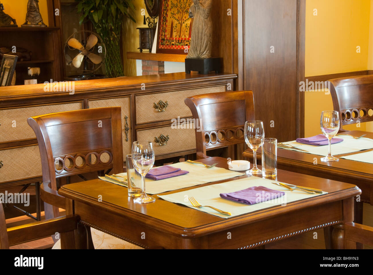 Beijing, CHINA- Interior Design, Dining Room of French-Vietnamese Restaurant,'La Maison de Marquerite' - Stock Image