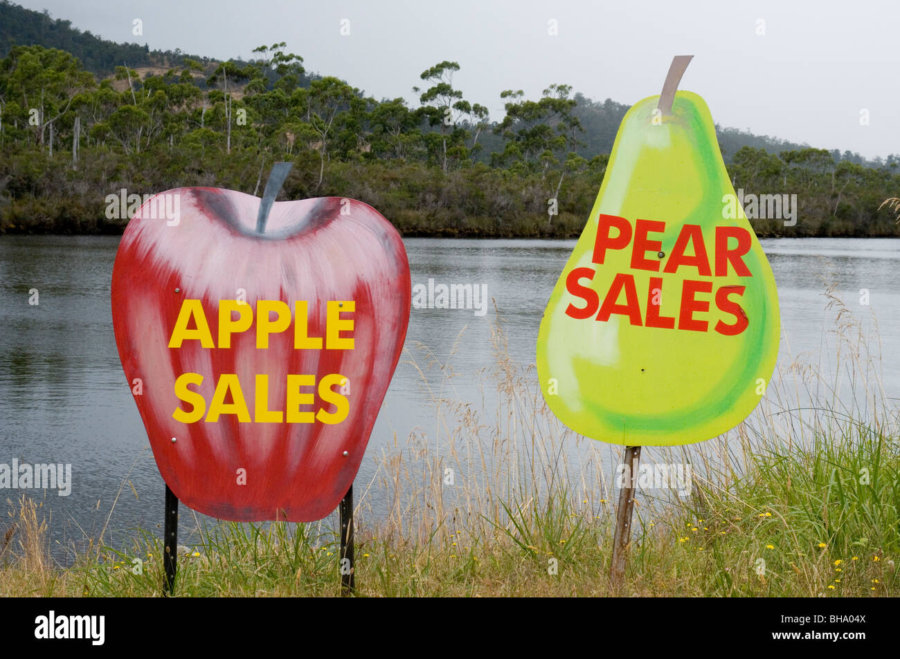 Roadside signs in the Huon Valley, southern Tasmania, Australia - Stock Image