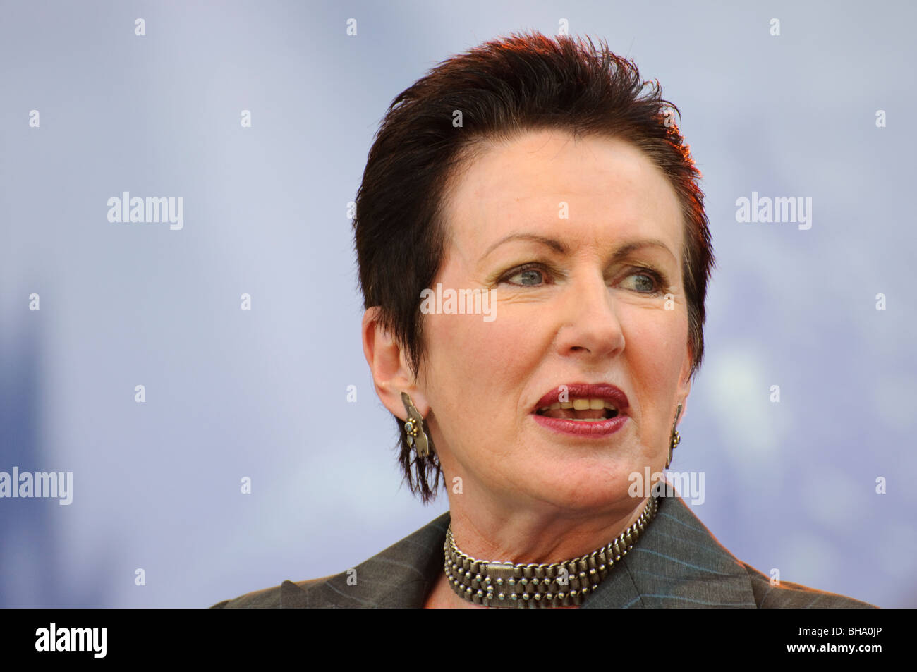 A well-known female politician giving a speech. - Stock Image