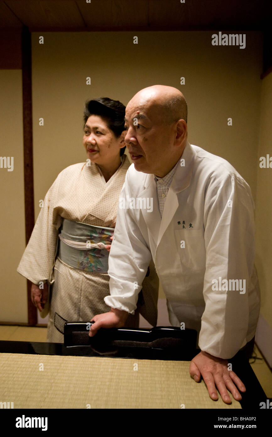 The exclusive private dining club/restaurant 'Mibu', owned by Chef Hiroshi Ishida (67yrs old) and wife Tomiko - Stock Image