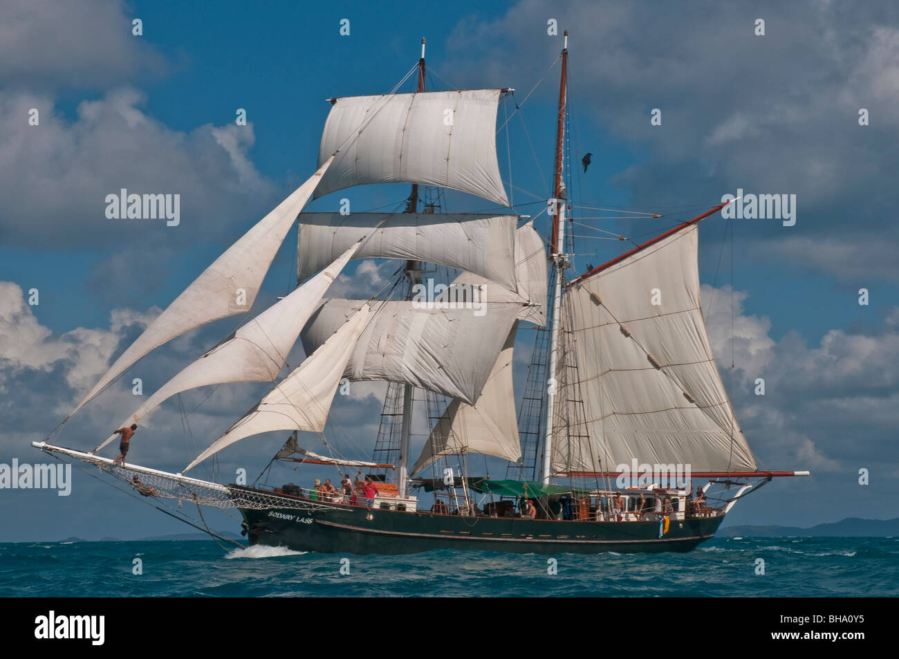 The Solway Lass 125 foot schooner built in 1906 sailing in the Whitsunday Islands on the Great Barrier Reef - Stock Image