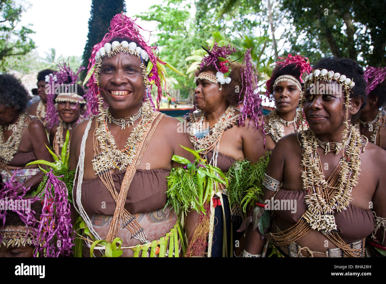 Traditionally costumed dancers Santa Ana Island Solomon Islands - Stock Image