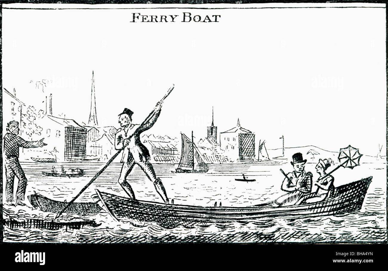 Ferry Boat. Illustration by George Cruikshank from the book The Connoisseur Illustrated published 1903. - Stock Image