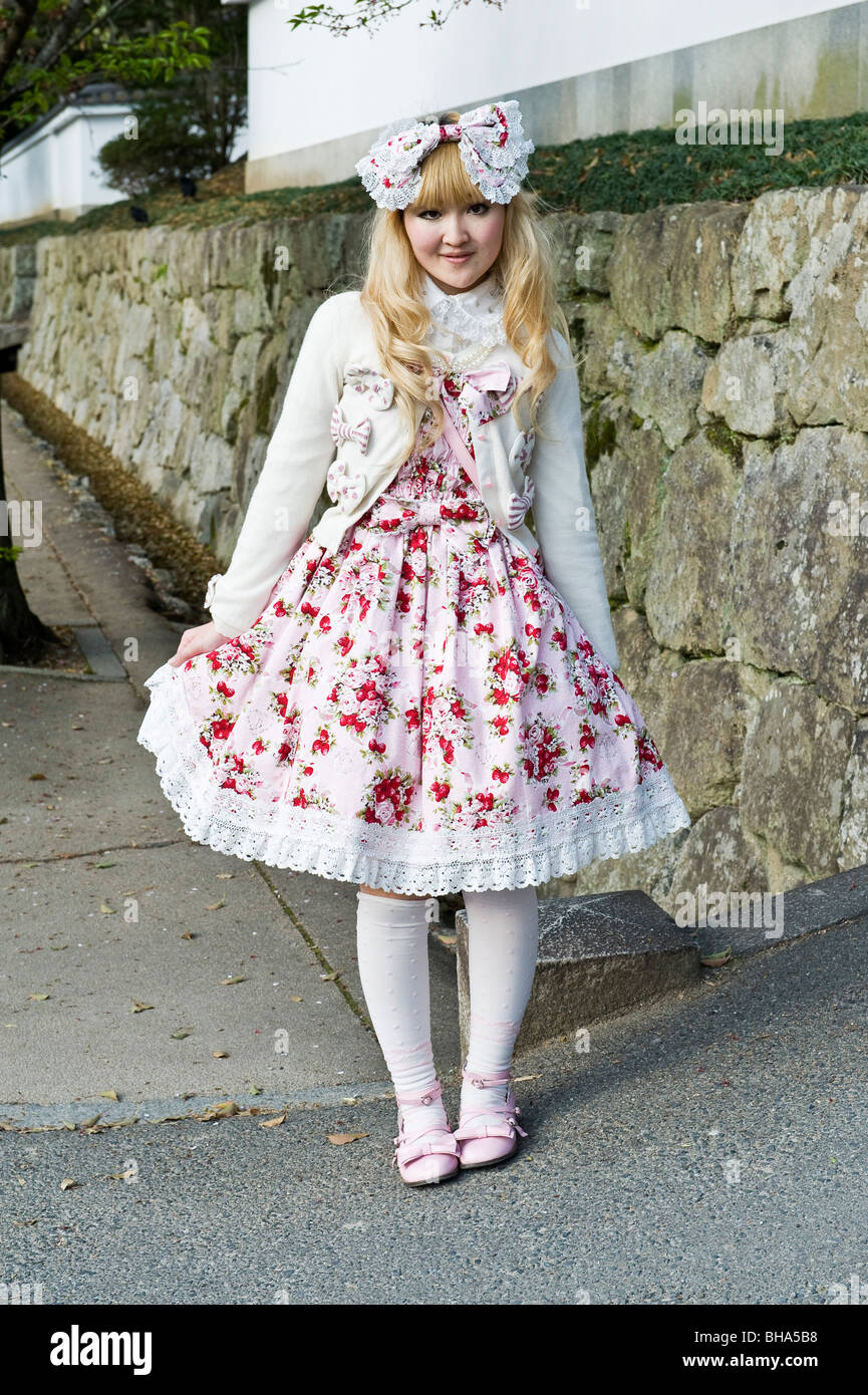Kyoto, Japan. Teenager in the height of fashion dressed as a manga character - known as 'cosplay' - Stock Image