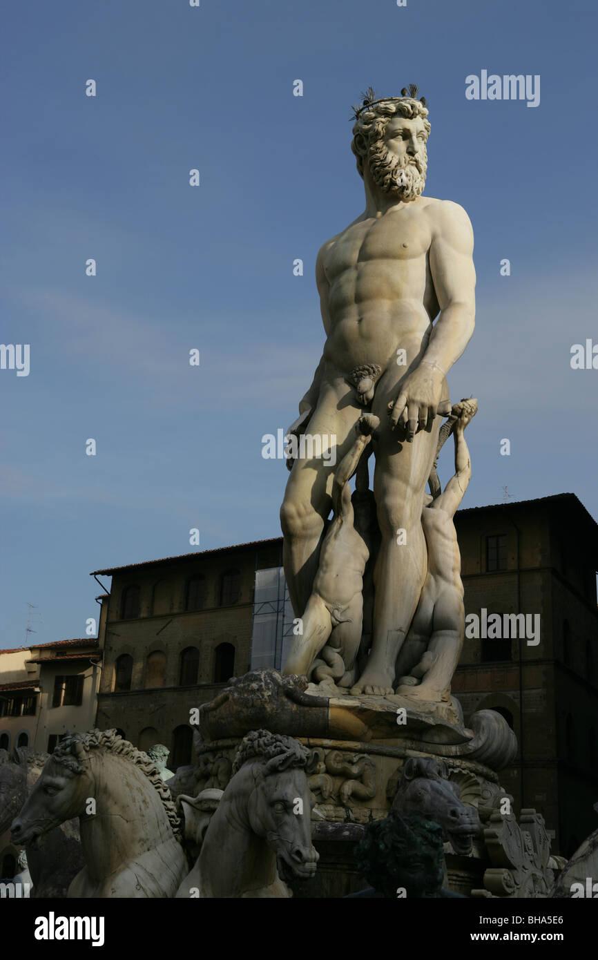 Italy, Tuscany, Florence, La Fontana del Nettuno, Piazza della Signoria - Stock Image