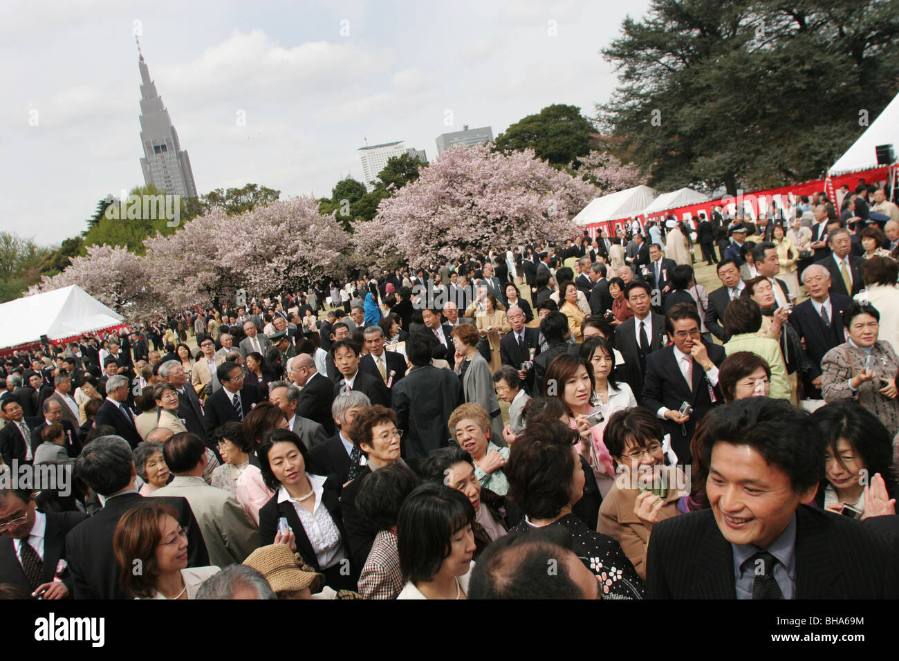 Guests at the 'Sakura Hanami' (cherry blossom flower viewing) garden party hosted by Prime Minister Junichiro - Stock Image