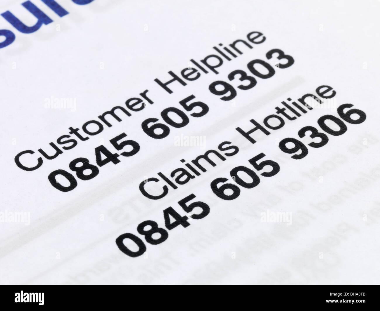 Car Insurance Helpline Stock Photo