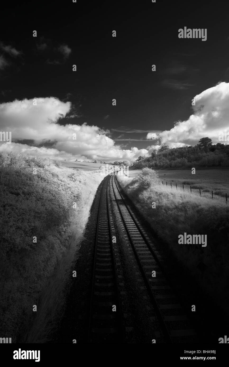 Train tracks, Dorset, England, UK - Stock Image