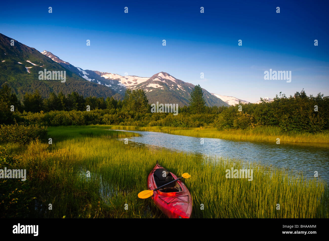 Kayak and Portage Creek in Portage Valley, Southcentral Alaska during Summer - Stock Image