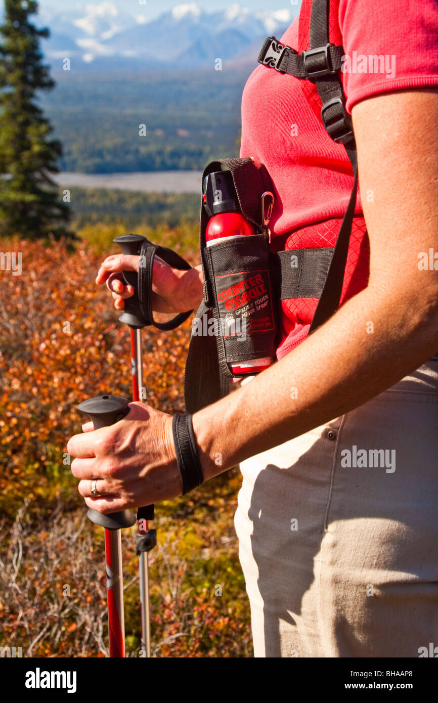 Woman hiking on Little Coal Creek trail pauses to view Mt. Mckinley and Alaska range, Autumn,  Southcentral, Alaska - Stock Image
