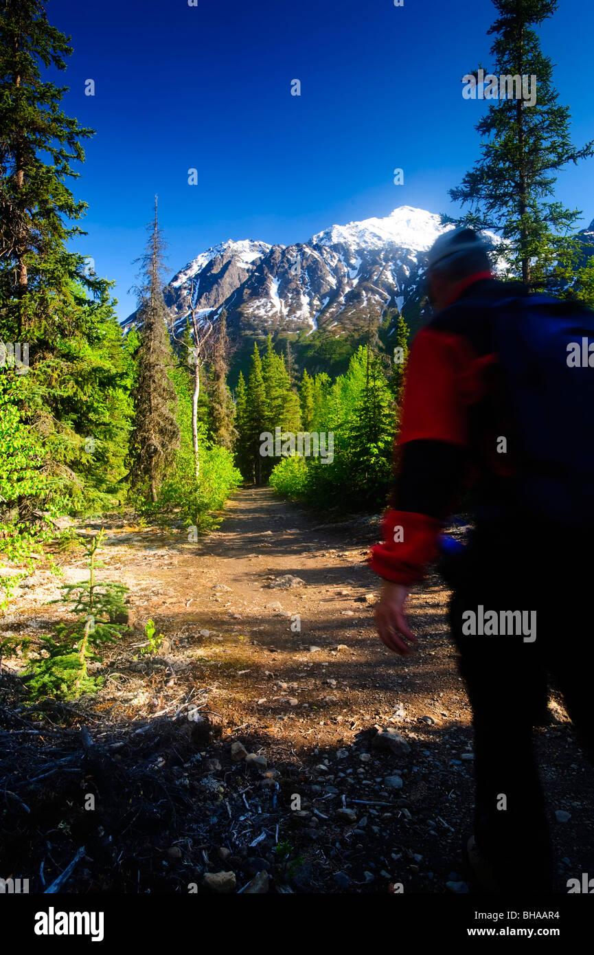 Hiker on the Crow Pass Trail near Eagle River, Chugach State