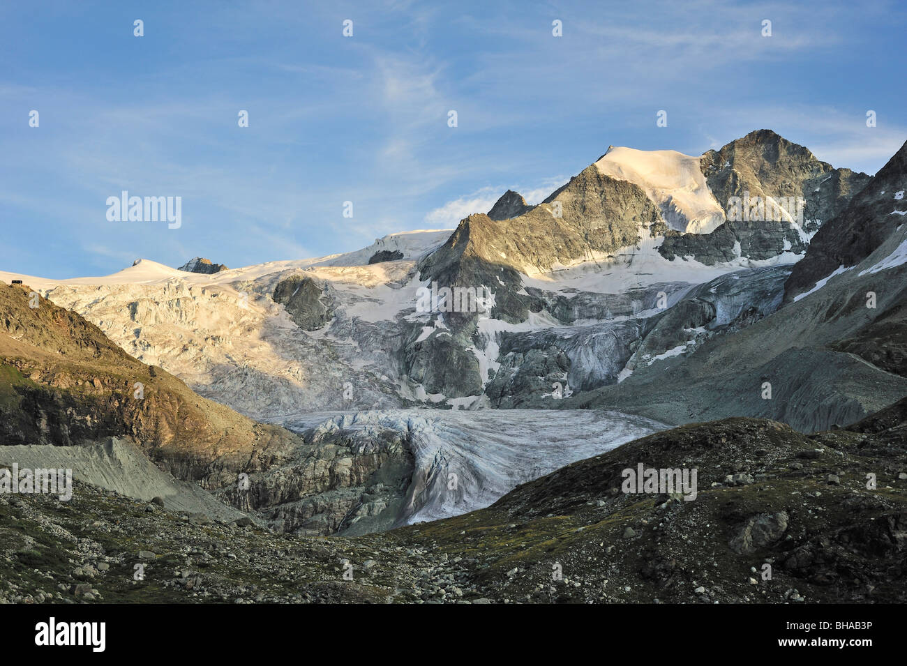 The Moiry Glacier in evening light at sunset in the Pennine Alps / Walliser Alpen, Valais / Wallis, Switzerland Stock Photo