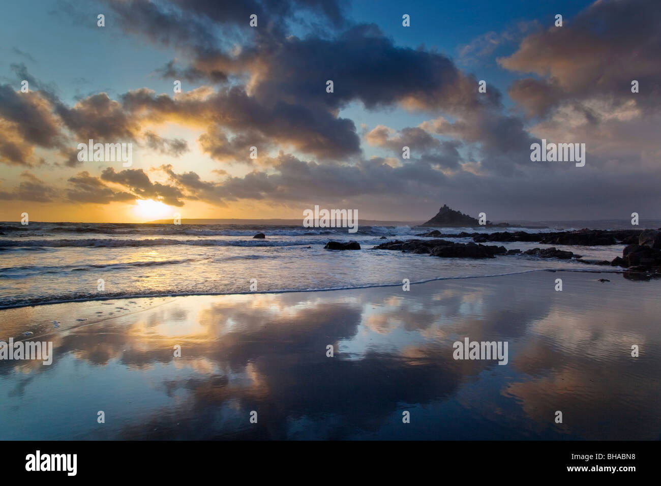 St Michael's Mount; from Trenow Cove; Cornwall - Stock Image