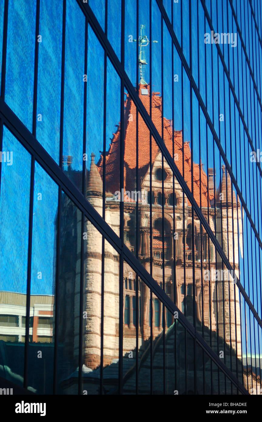 Trinity Church Reflected in the John Hancock Building, Boston, MA - Stock Image