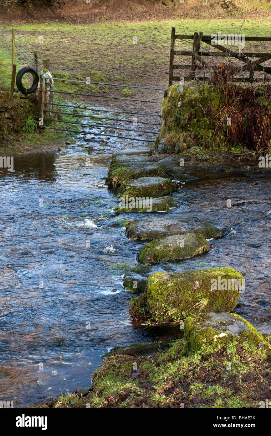 An old river crossing at Sheepstor on Dartmoor.  Can only be used when the river is at normal or low level. - Stock Image
