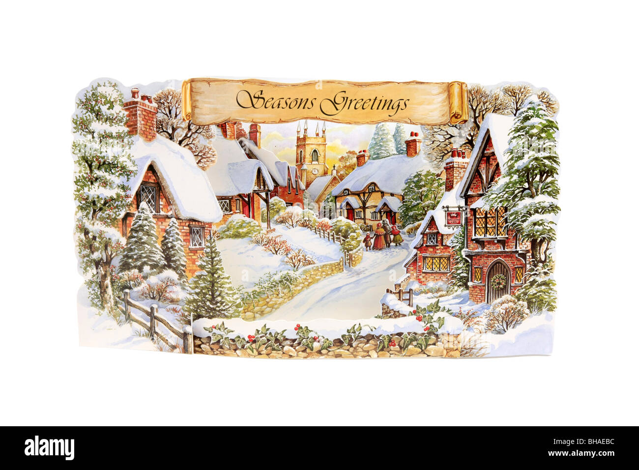 3D Christmas Card against a white background - Stock Image
