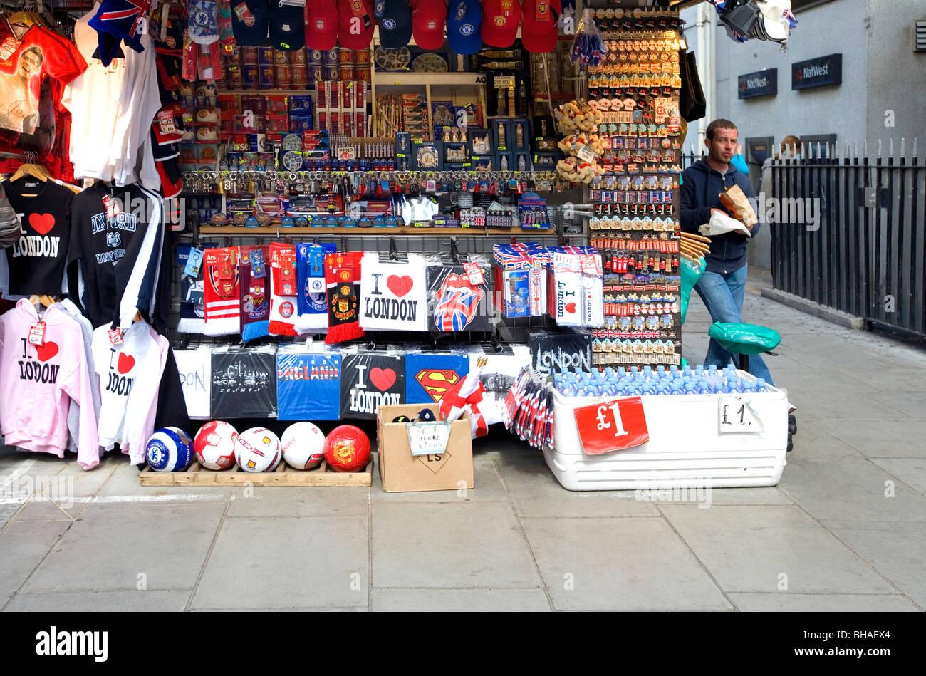 Souvenir stall, Oxford Street, London, England, UK, Europe Stock Photo