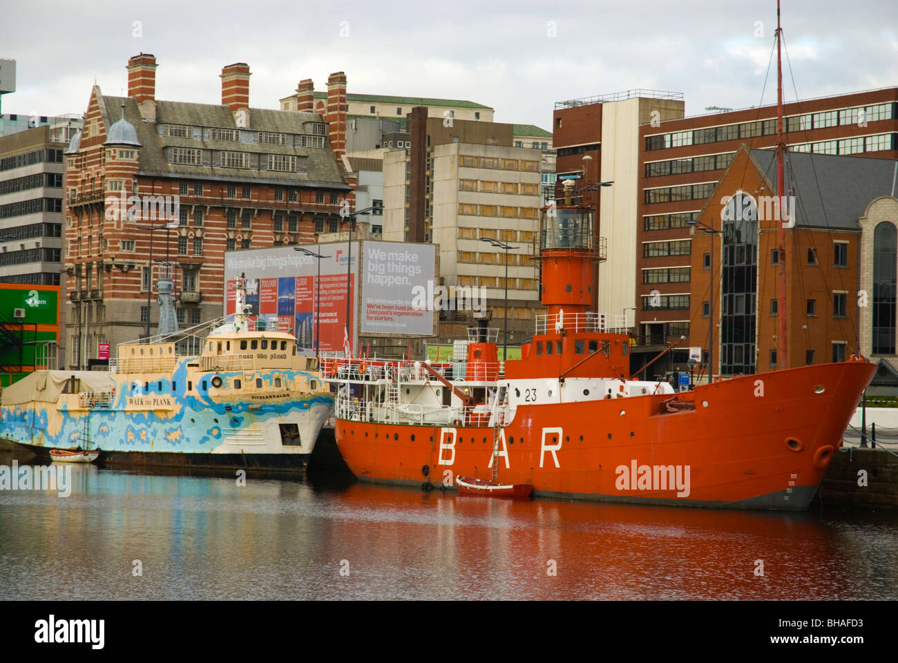 Moored ships Canning Dock central Liverpool England UK Europe - Stock Image
