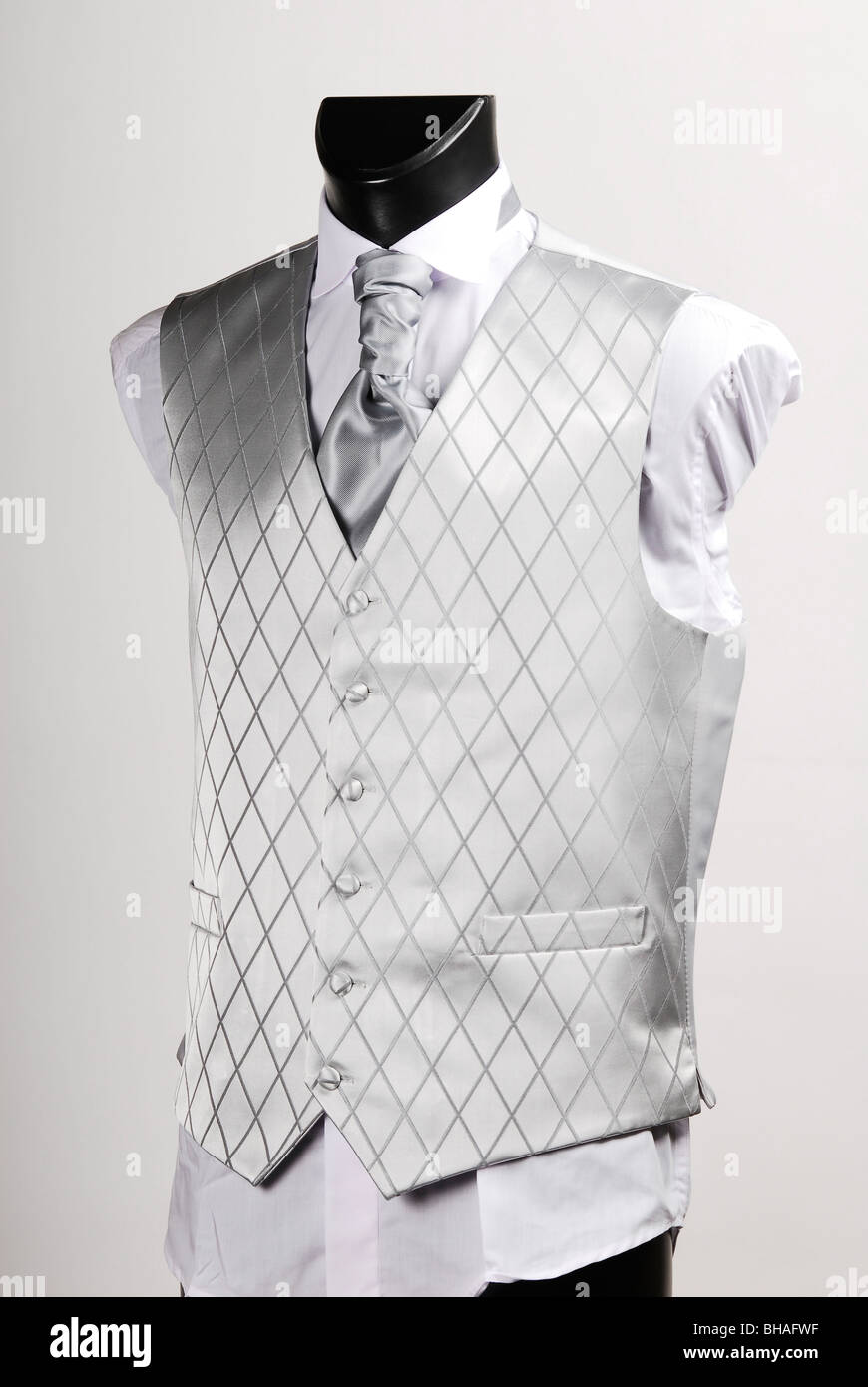 Silk Waistcoat. Mens garment worn over a shirt and under a jacket. - Stock Image