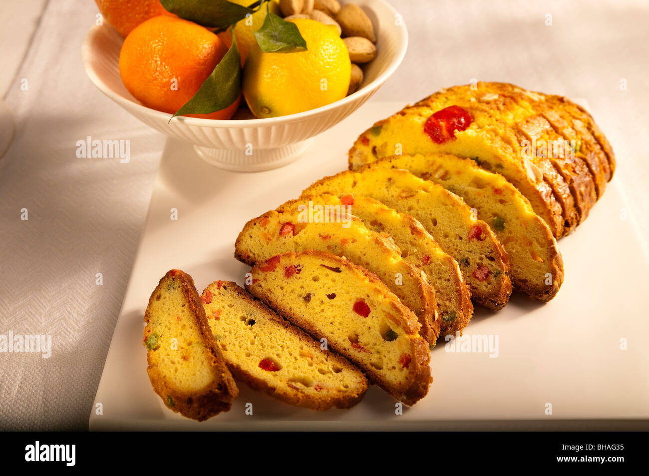 Mondel Bread displayed on a table ready to eat - Stock Image