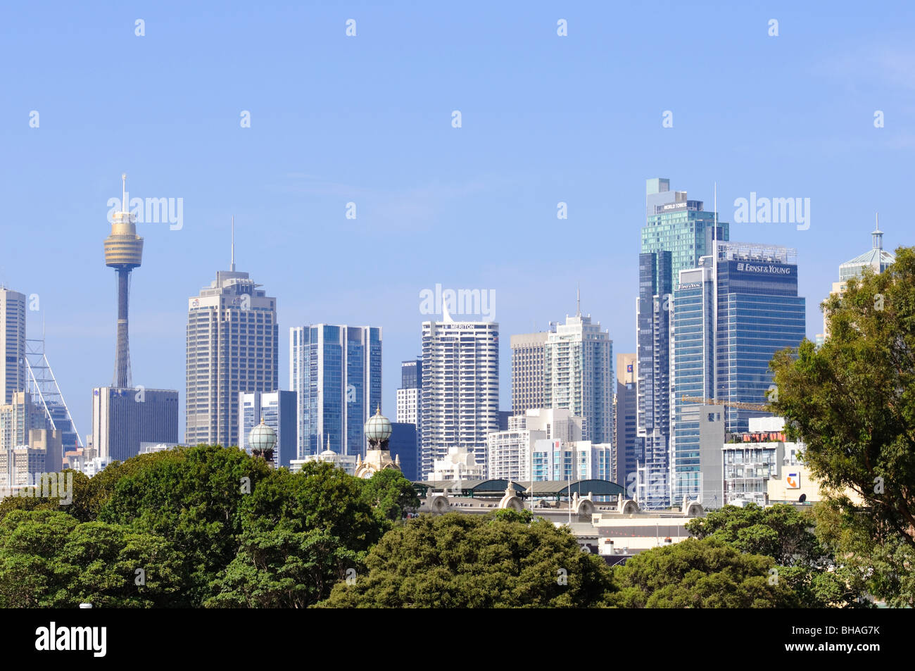 Famous city skyline, with modern skyscrapers, under a blue summer sky. Stock Photo