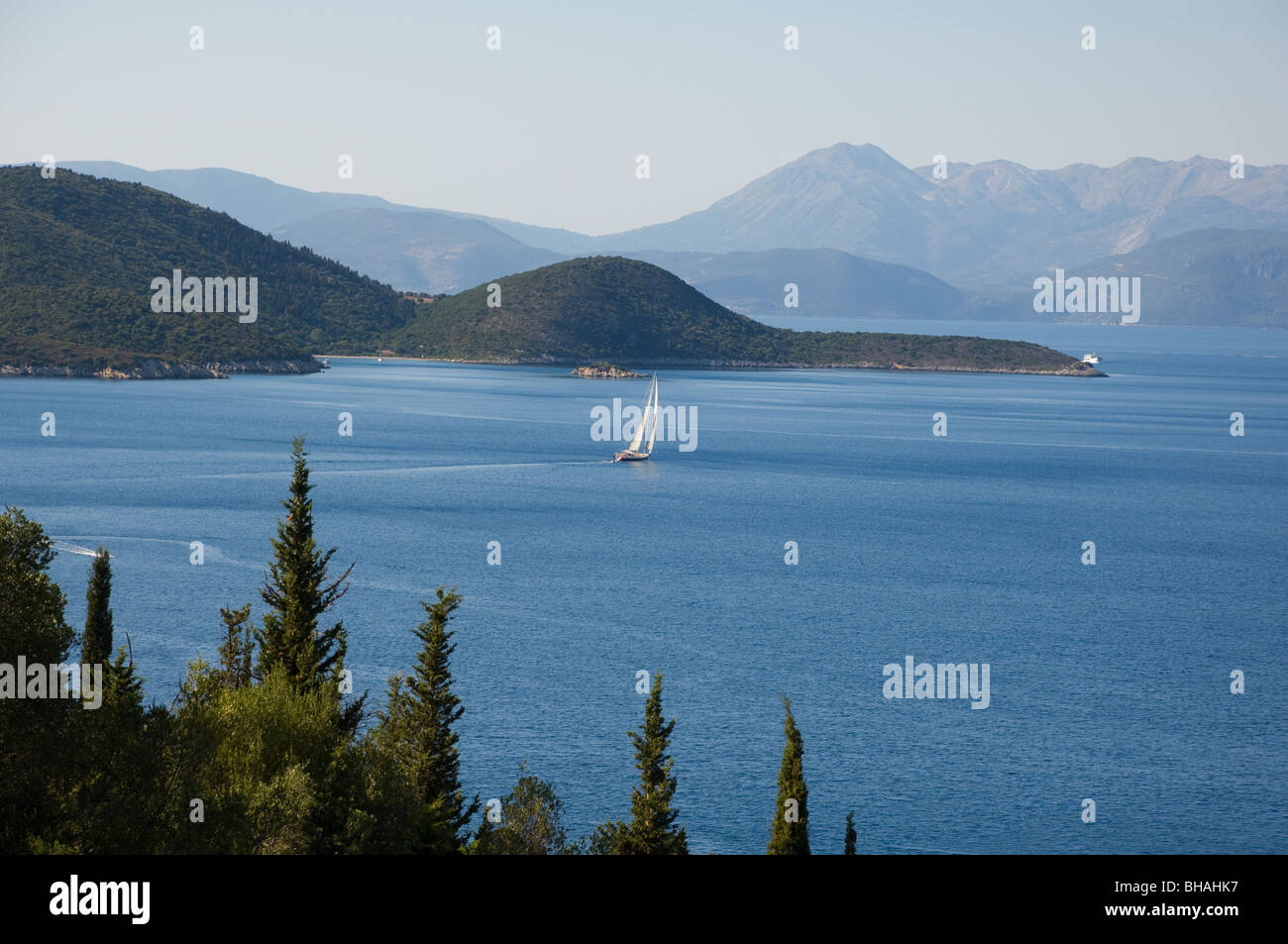 A view toward Kefalonia from Ithaca, The Ionian Islands, Greece - Stock Image