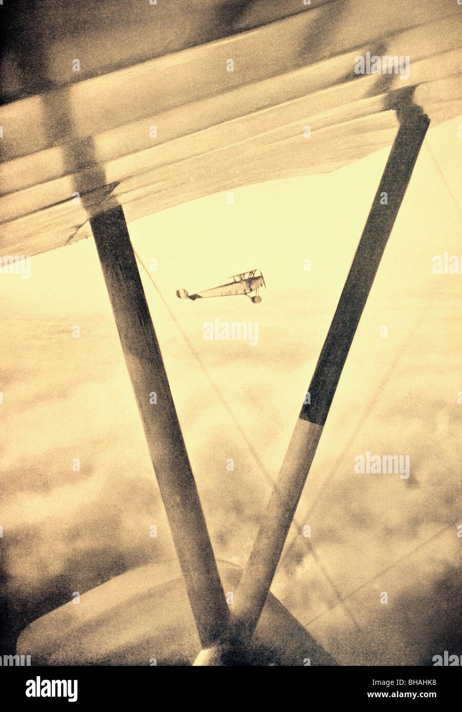 French aircraft on patrol during the First World War. - Stock Image