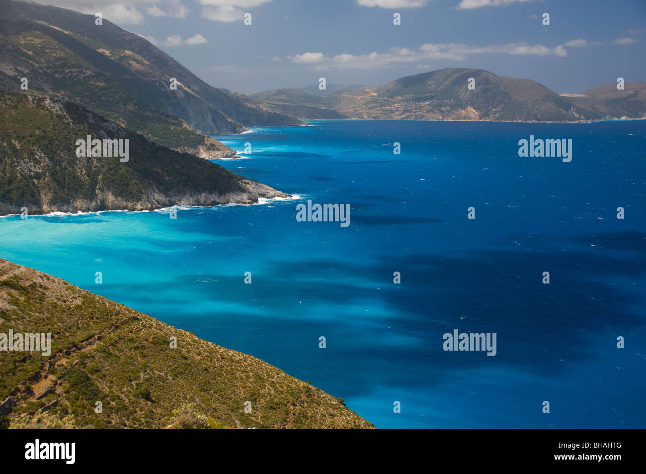 A view of the sea and coast from the island of Ithaca, The Ionian Islands, Greece - Stock Image