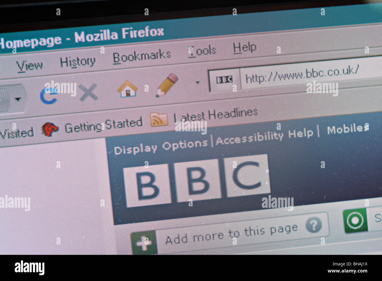 BBC homepage in Mozilla Firefox - screenshot - Stock Image