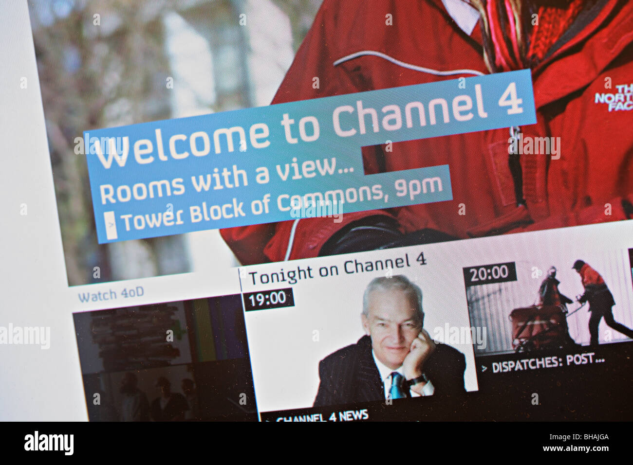 Channel 4 television homepage screenshot - Stock Image